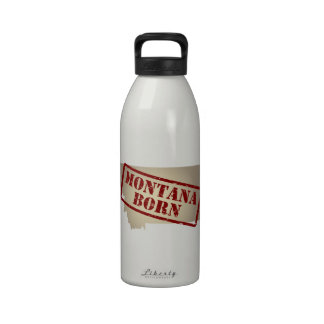 Montana Born - Stamp on Map Drinking Bottle