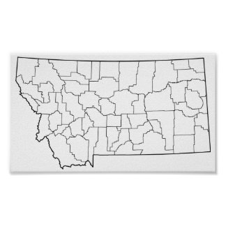 Montana Counties Blank Outline Map Poster