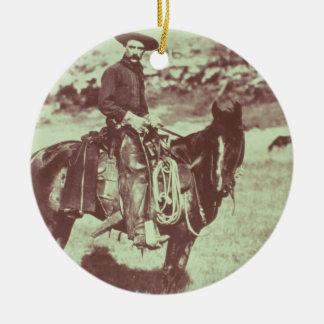 Montana Cowboy, c.1880 (b/w photo) Christmas Ornament