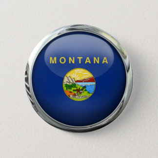 Montana Flag Glass Ball 6 Cm Round Badge