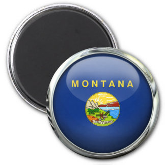 Montana Flag Glass Ball Magnet