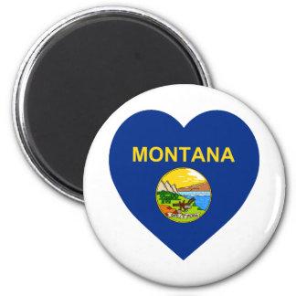 Montana Flag Heart 6 Cm Round Magnet