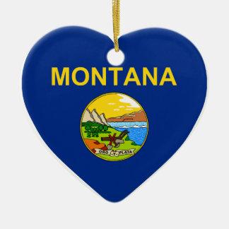 Montana Flag Heart Ceramic Heart Decoration