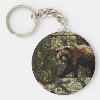 Montana Grizzly Basic Round Button Key Ring