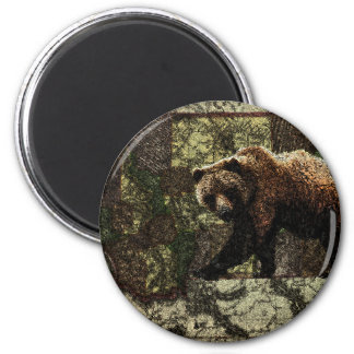 Montana Grizzly 6 Cm Round Magnet