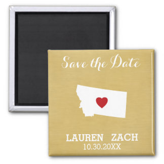 Montana Home State City Wedding Save the Date map Magnet