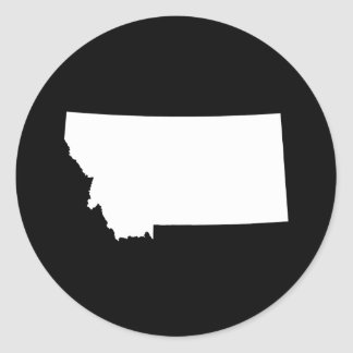 Montana in White and Black Classic Round Sticker
