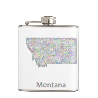 Montana map hip flask