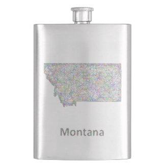 Montana map hip flasks