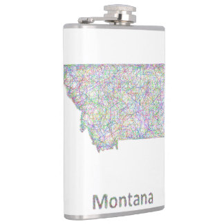 Montana map hip flasks
