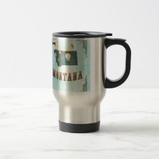 Montana Map With Lovely Birds Stainless Steel Travel Mug