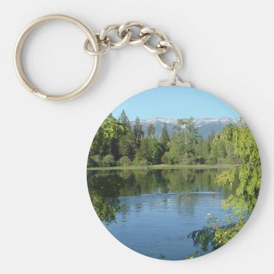 Montana Mountains Basic Round Button Key Ring
