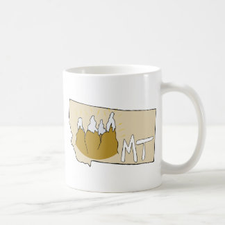 Montana MT Map & Rocky Mountains Cartoon Art Basic White Mug