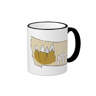 Montana MT Map & Rocky Mountains Cartoon Art Ringer Mug