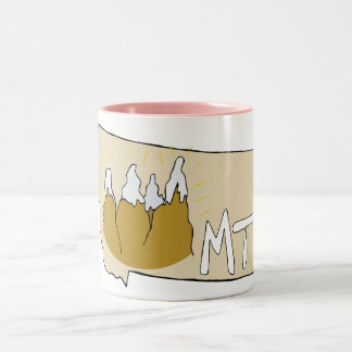 Montana MT Map & Rocky Mountains Cartoon Art Two-Tone Mug