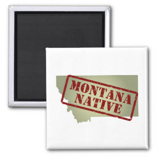 Montana Native Stamped on Map Square Magnet