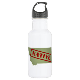 Montana Native with Montana Map 18oz Water Bottle