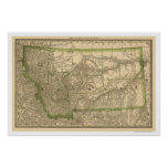 Montana Railroad Map 1881 Poster