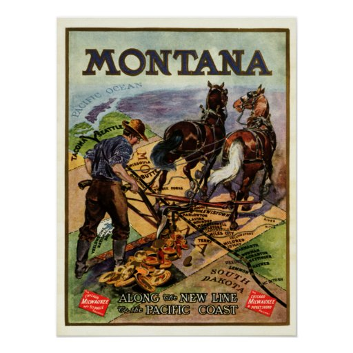 Montana railroad travel poster