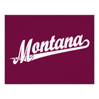 Montana script logo in white distressed 21.5 cm x 28 cm flyer