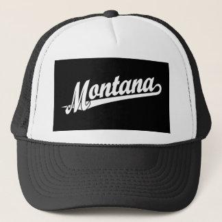 Montana script logo in white trucker hat