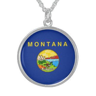 Montana State Flag Design Round Pendant Necklace