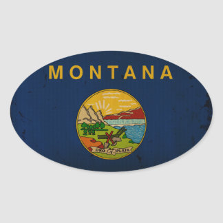 Montana State Flag VINTAGE.png Oval Sticker