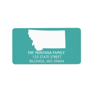 Montana State Return Address Labels - Turquoise