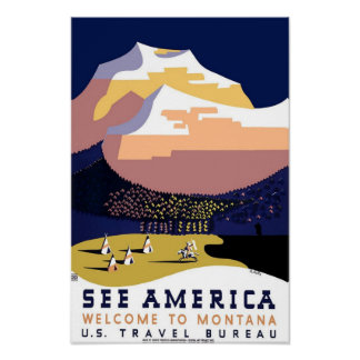 Montana Travel Vintage Poster