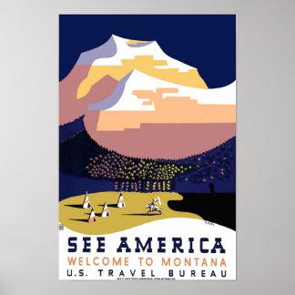 Montana Travel Vintage Poster