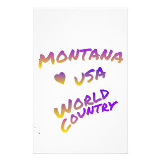 Montana USA world country, colorful text art Customized Stationery