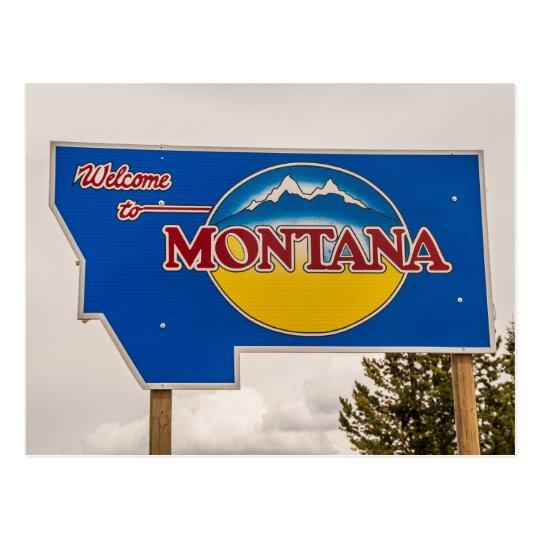 Montana Welcome Sign - Montana border Postcard