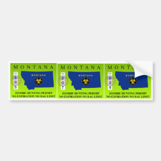 Montana Zombie Hunting Permit Bumper Sticker