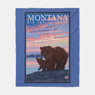 MontanaMomma Bear and Cub Vintage Travel Fleece Blanket