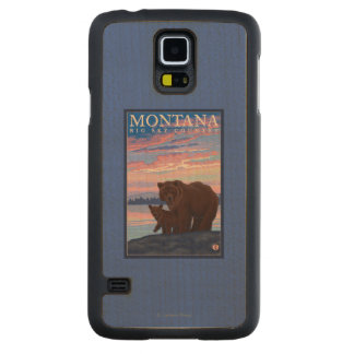 MontanaMomma Bear and Cub Vintage Travel Maple Galaxy S5 Slim Case