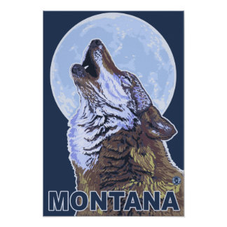 MontanaWolf Howling Poster