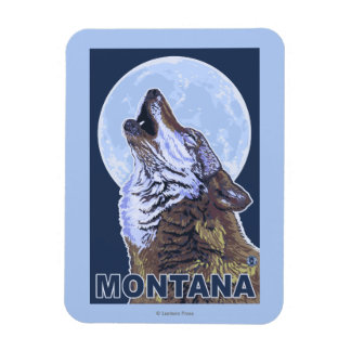 MontanaWolf Howling Rectangular Photo Magnet