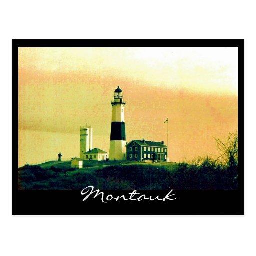 montauk light house post card