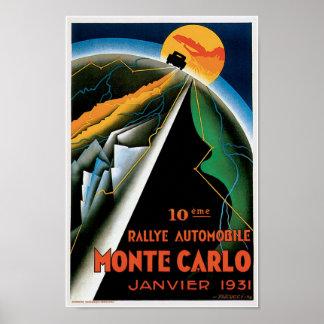 Monte Carlo 1931 Automobile Ad Vintage Art Poster