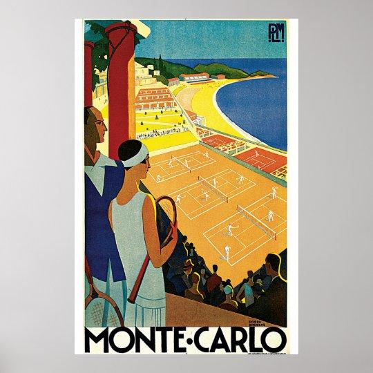 Monte Carlo Art Deco Tennis Poster