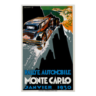Monte Carlo Auto Rally ~ Vintage Automobile Ad Poster