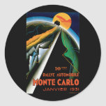 Monte Carlo Auto Rally ~ Vintage Automobile Ad Round Sticker