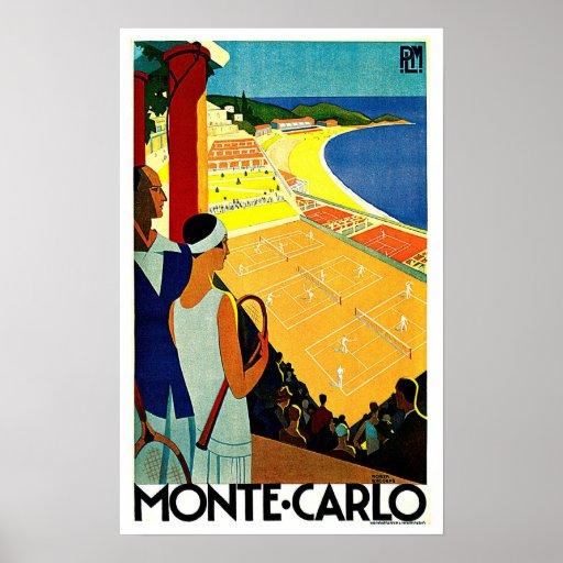 Monte Carlo Monaco Tennis Travel Art Poster