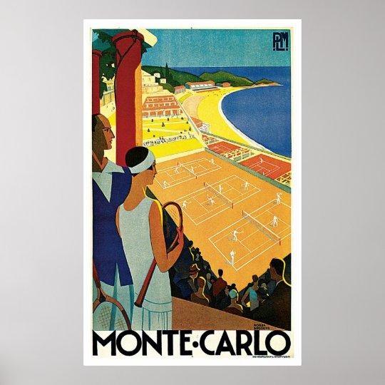 Monte Carlo Monaco Tennis Vintage Travel Poster