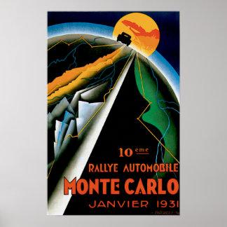 Monte Carlo Monaco Vintage Auto Race Ad Poster