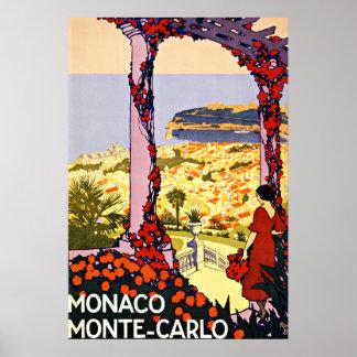 Monte Carlo, Monaco Vintage Travel Poster