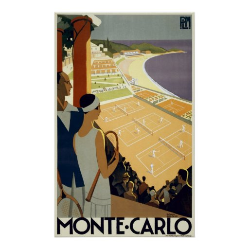 Monte Carlo Monaco Vintage Travel Poster