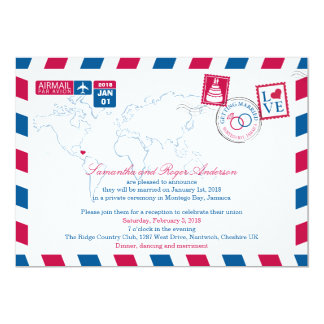 Montego Bay Jamaica Airmail Post Wedding Reception Card
