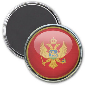 Montenegro Flag Glass Ball 7.5 Cm Round Magnet