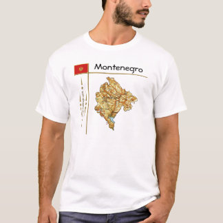 Montenegro Map + Flag + Title T-Shirt